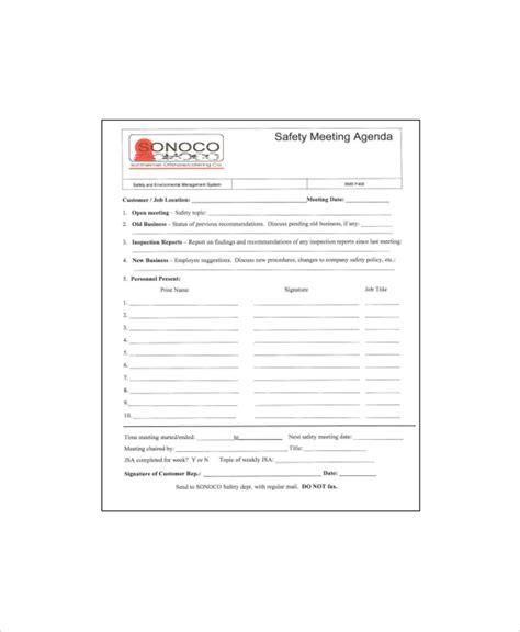12 safety meeting agenda templates free sle exle