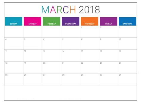 Calendar March 2018 Template