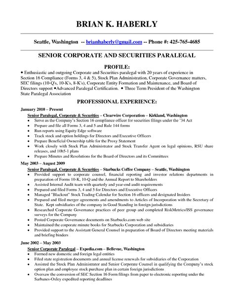 exle of paralegal resume corporate paralegal resume sle resume ideas
