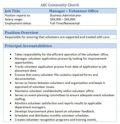 volunteer manager description sle 34 best images about church administrator on