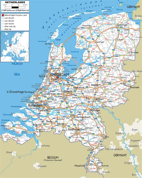 netherlands motorway map road map of netherlands and ezilon maps