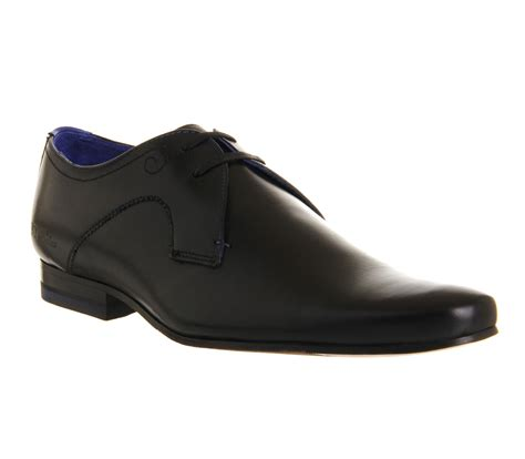mens ted baker martt plain lace up brogues black leather
