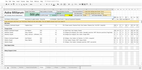 40k army list template a spreadsheet to make creating army lists a