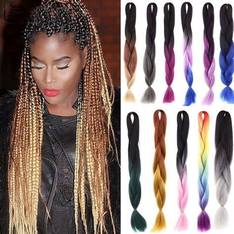 ombre synethic hair 1pcs ombre kanekalon jumbo braiding synthetic hair african