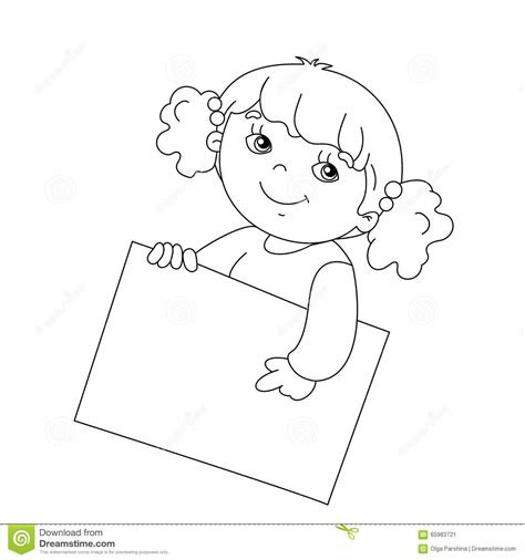 coloring page of a girl outline coloring page outline of cute girl holding a sign stock