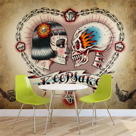 mural tattoo skull wall paper mural buy at europosters