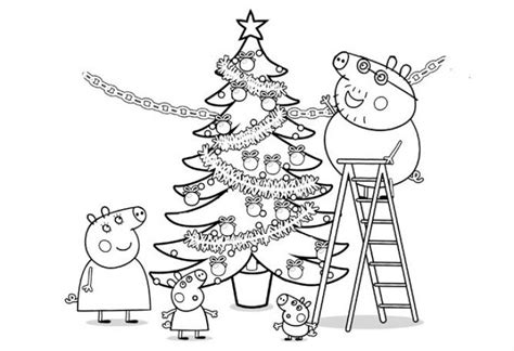 nick jr winter coloring pages peppa pig and family decorating a christmas tree coloring