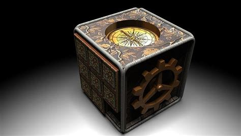 steampunk compass puzzle box  cgtrader