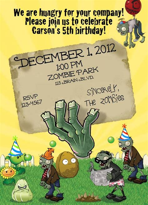 pvz card template plants vs zombies pvz birthday invite 10 00 via etsy