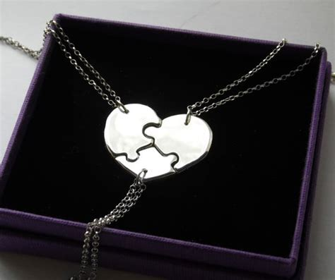 Friend Shape Silver Bandul Friend Silver 3 way best friends necklaces 3 stunning puzzle necklaces forming a shape thick