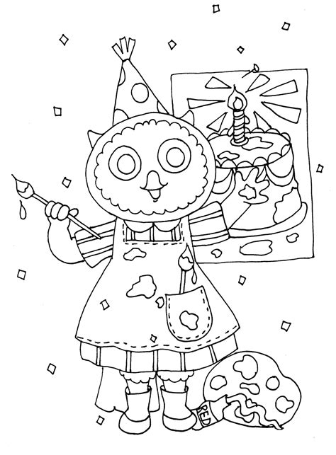 happy birthday owl coloring pages free dearie dolls digi sts happy birthday owl