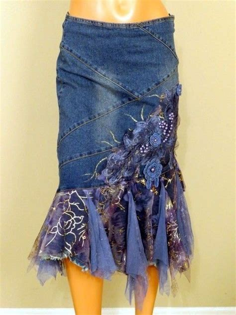 Wst 18465 White Flower Denim Skirt 1000 images about todo en jean on recycling