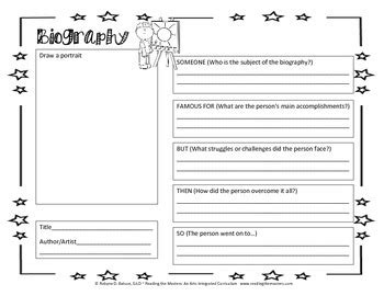 biography graphic organizer worksheets biography graphic organizer by reading the masters tpt
