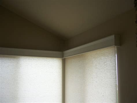 Modern Wood Cornice Motorized Roller Shades With Wood Cornice Boxes Modern