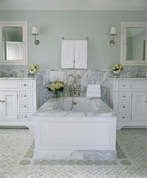 paint farrow borrowed light pale blue colour and the marble surround on the tub