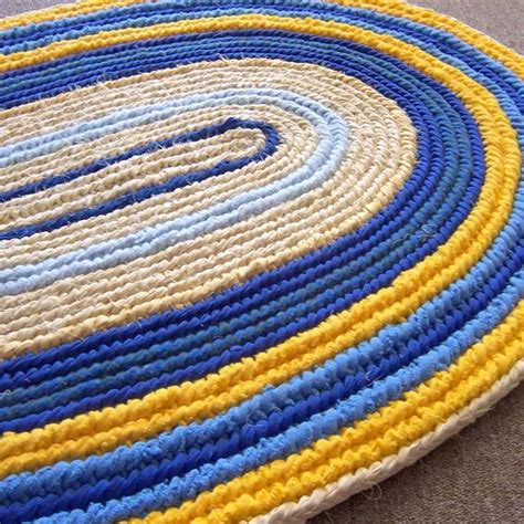 toothbrush rug made oval rag rug woven toothbrush yellow and blue naalbinding rug by margaret b rugs