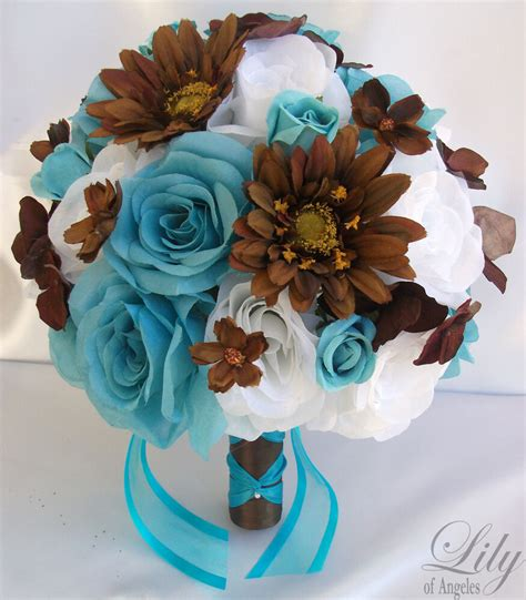 17pcs wedding bridal bouquet flowers decorations package turquoise brown ebay