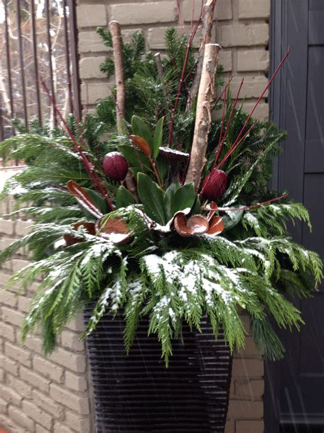 winter planter festive decorating for holidays