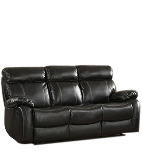 pure leather sofa three seater pure leather recliner sofa in black colour by