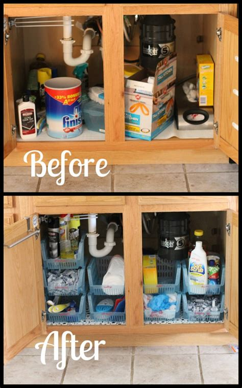 under kitchen sink storage under sink cabinet organization i heart planners