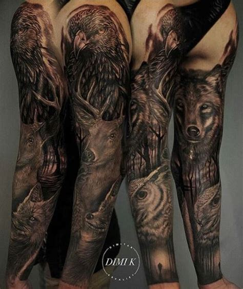 nature sleeve tattoo nature and animals sleeve venice designs