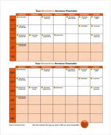 Template Revision Timetable by Sle Revision Timetable Template 9 Free Documents