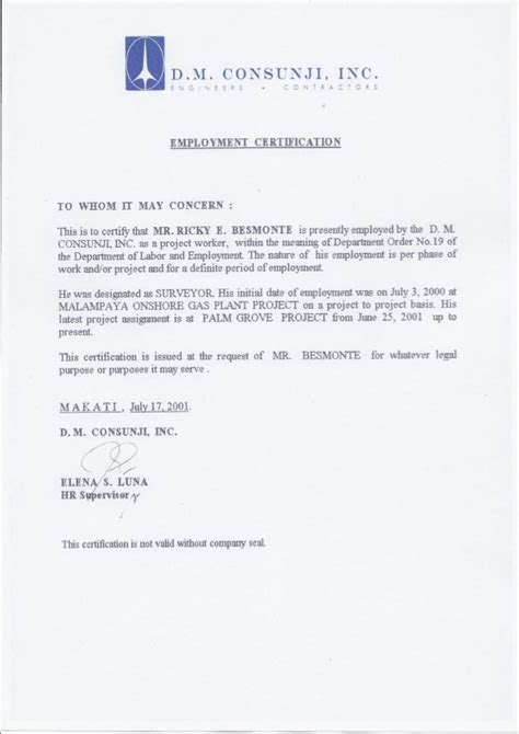 Request Letter Sle Certificate Of Employment Sle Request Letter For Employment Certification 28
