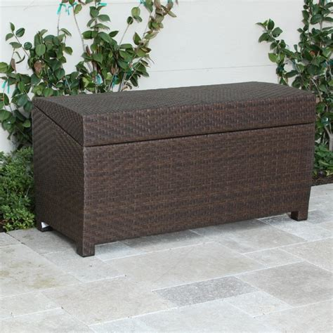 outdoor trunk bench christopher knight home outdoor wicker storage chest