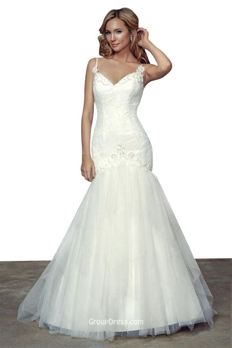 stunning spaghetti straps tulle mermaid wedding dress