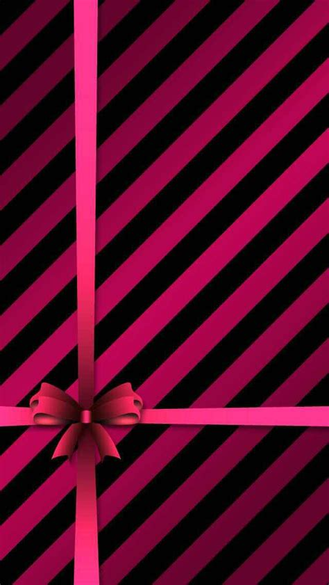 Iphone pink and black stripe with bow iphone wallpaper background