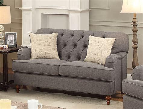 Gray Tufted aliza contemporary gray button tufted sofa loveseat set
