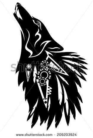 north american tribal tattoos howling wolf with traditional american indian