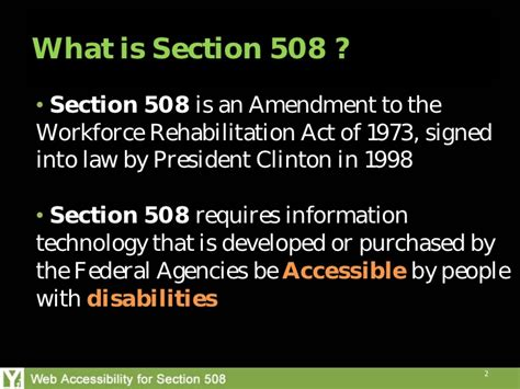 section 508 law section 508 amendment to the rehabilitation act of 1973