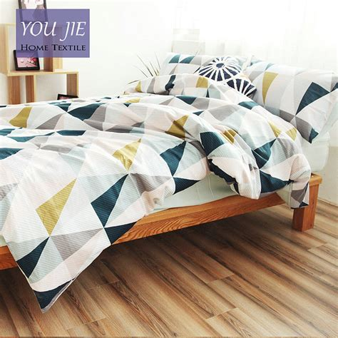 geometric bedding cotton nordic style bedding set 3pcs quilt cover blue and