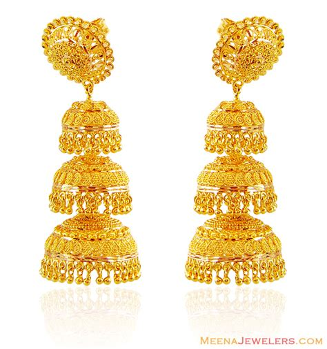 fancy jhumka earrings 22k gold jhumka earrings erfc16102 22kt gold earrings in layered khumkas style with gold