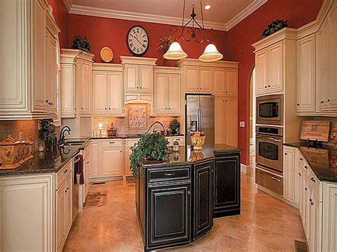 red kitchen white cabinets pictures of antiqued kitchen cabinets with red wall