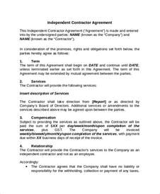 independent contractor contract template 28 independent contractor agreement sle template