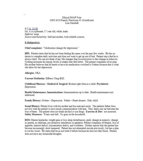 40 Fantastic Soap Note Exles Templates Template Lab Soap Note Template