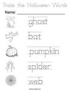 trace the halloween words coloring page tracing twisty