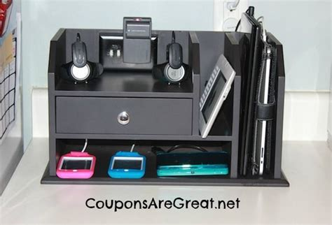 Electronic Charging Station Desk Organizer Charging Stations On Hide Cable Box Workshop Storage And Lumber Storage
