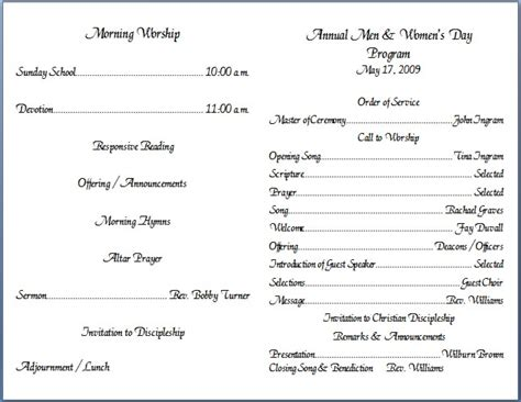 church anniversary bulletins