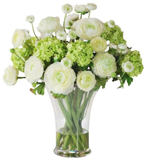 faux ranunculus arrangement in glass vase traditional
