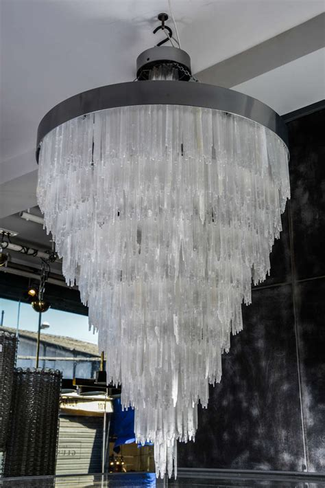 Selenite Chandelier One Of A Metal And Selenite Chandelier For Sale At 1stdibs