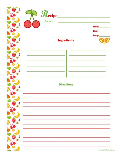 fillable recipe card template cherry orange recipe card page recipe pages