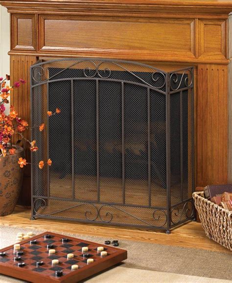 metal fireplace safety cover panel screen guard mesh