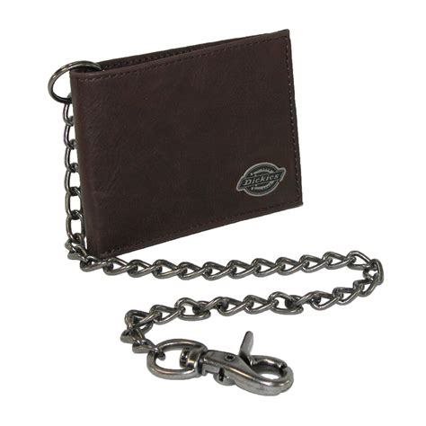 mens leather trucker chain slimfold wallet by dickies