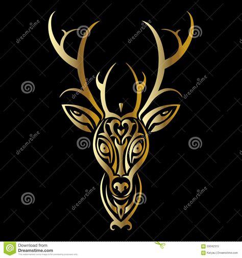 tribal pattern header deer head polynesian tattoo style stock vector image