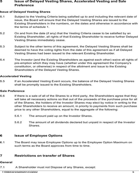 Agreement Letter For Shareholders Shareholders Agreement Sle For Free Page 5 Formtemplate