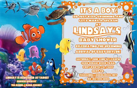 finding nemo invitations template finding nemo baby shower ideas photo 1 of 14