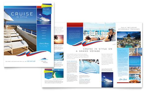 free travel flyer templates cruise travel brochure template design